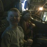 Caden and Avery before their first ride on Test Track